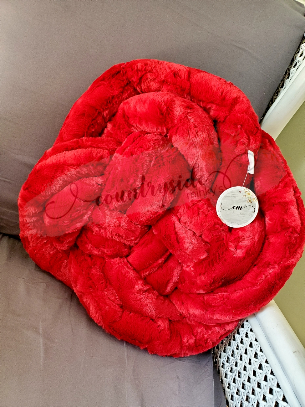 Large Minky Knot Pillow Red Hide Countryside Minkys Llc